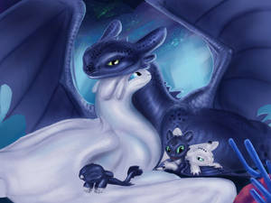 Toothless and Light Fury
