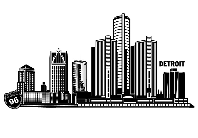 Detroit Cityscape Vector Design By Wall Decal Shop On