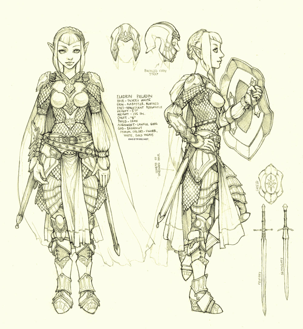 Fantasy Character Design Sheet : Eladrin paladin charactersheet by ghostfire on deviantart