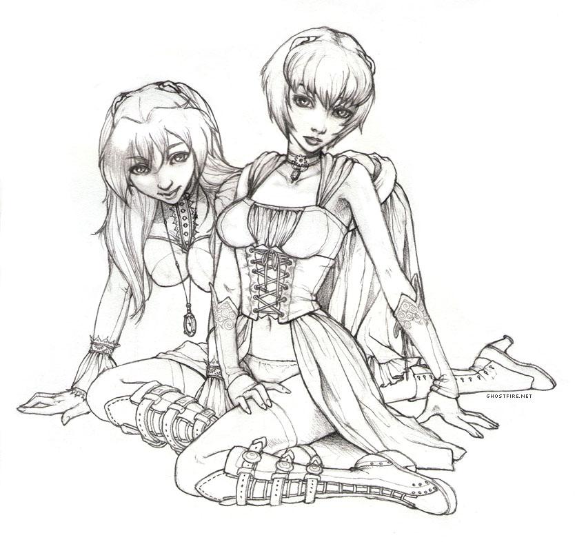Steampunk Evangelion Girls-BW by ghostfire