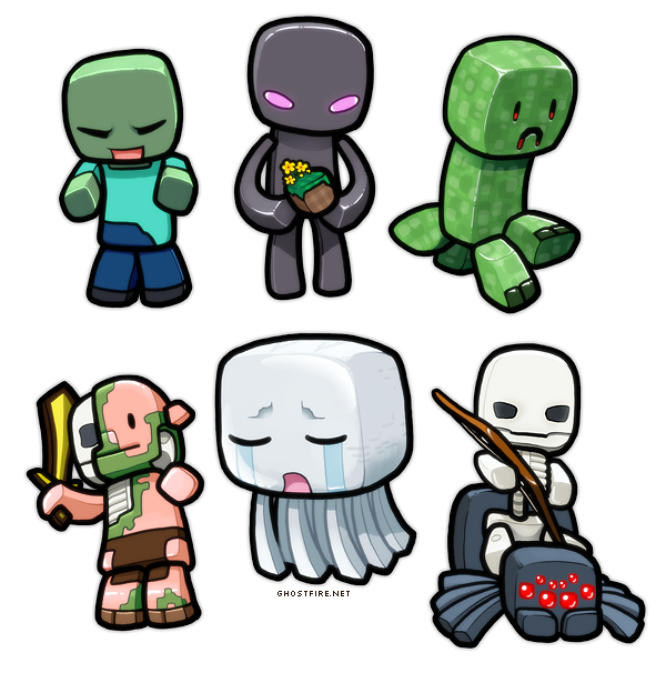 Chibi Minecraft Mobs Drawings