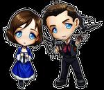 Bioshock Infinite Chibis - Booker and Elizabeth