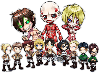 Attack on Titan Chibi Group by ghostfire