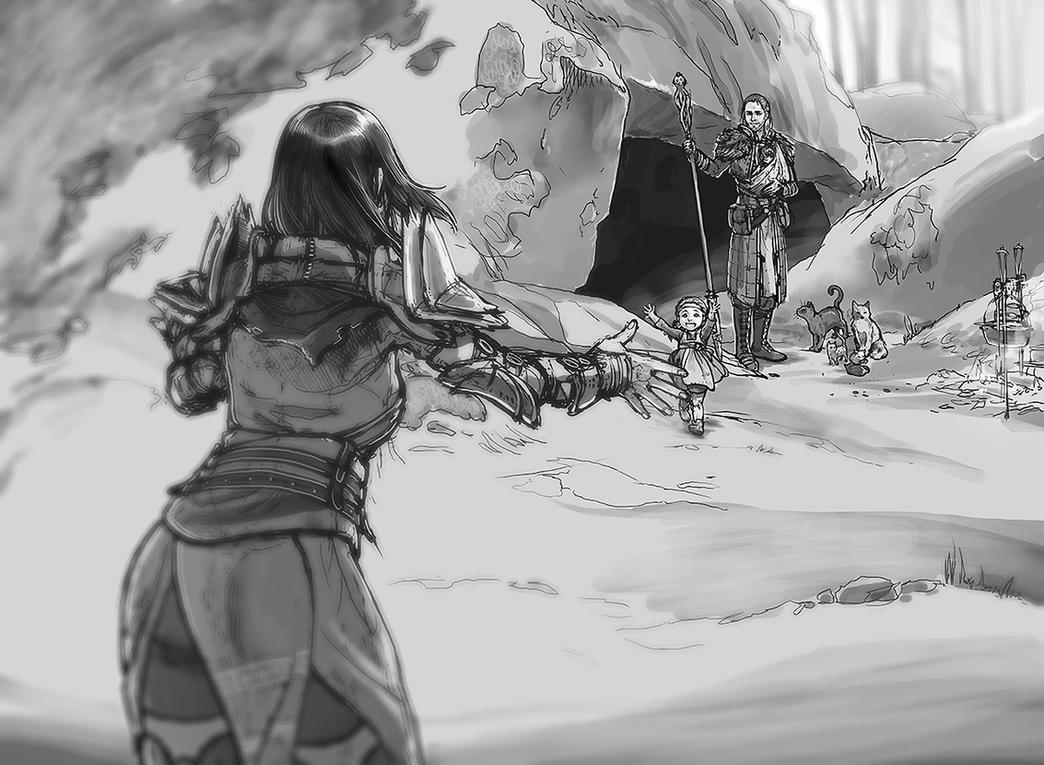 Return From Skyhold / Hiding Near Weisshaupt by ghostfire