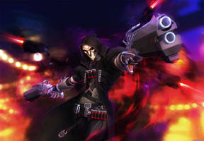 Overwatch - Reaper - Smoke and Fire by ghostfire