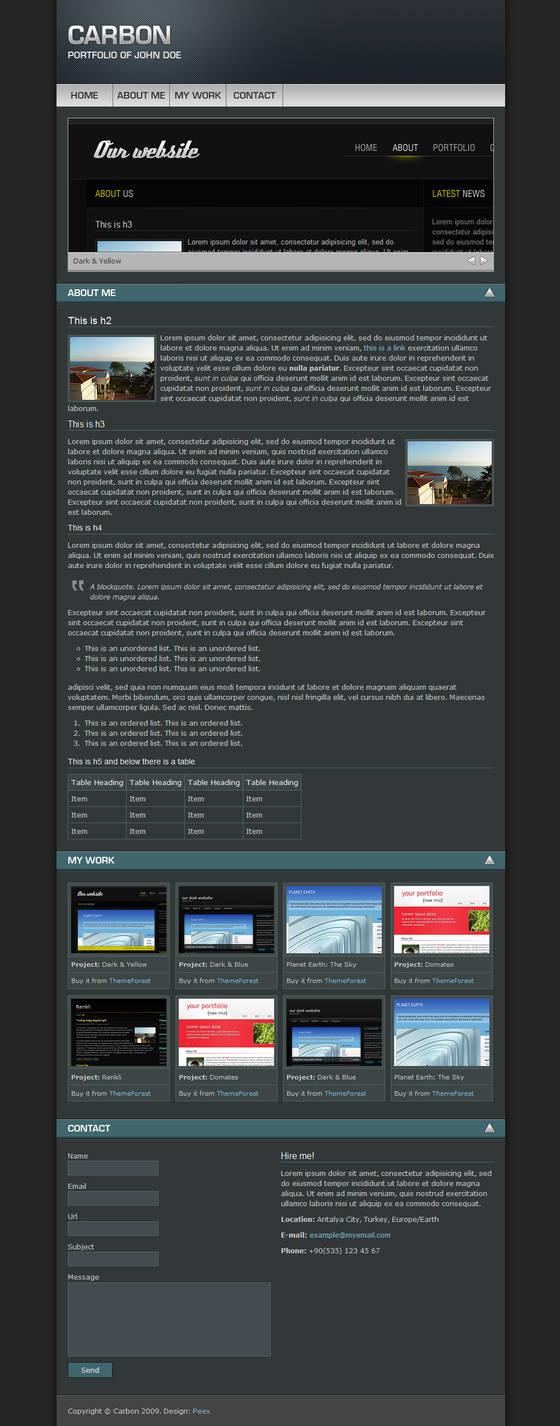 Carbon One Page Portfolio