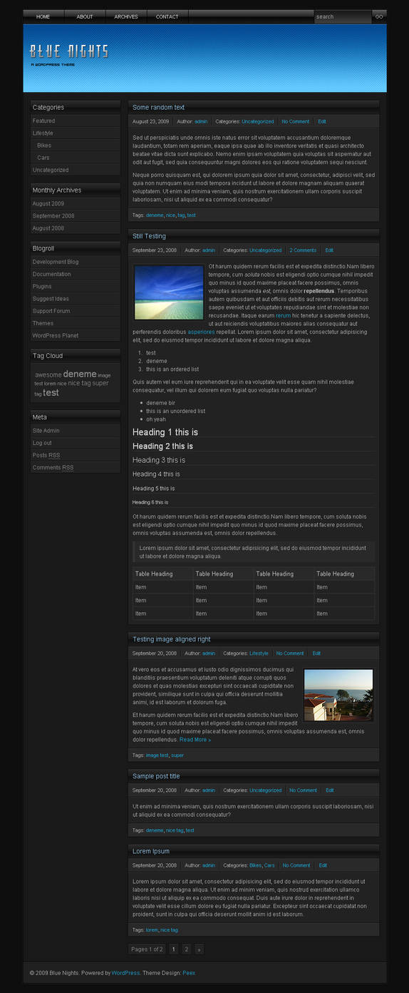 Blue Nights WordPress Theme