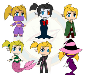 Assorted Chibis - Saria in the Multiverse by Dragon-FangX