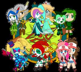 Assorted Chibis - AU Gamerclownz by Dragon-FangX