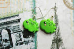 Polymer Clay Green Baby Dinosaur Earrings