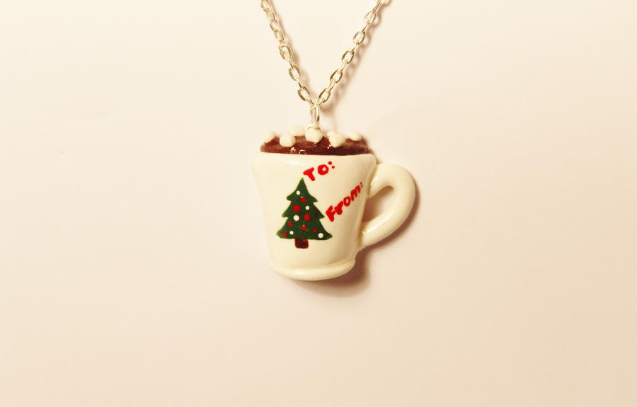 Polymer Clay Hot Chocolate Flatback Pendant by CharmStop