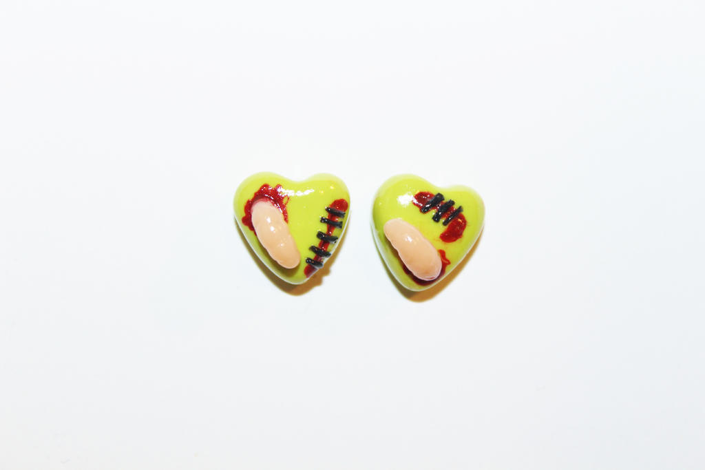 Polymer Clay Zombie Hearts by CharmStop