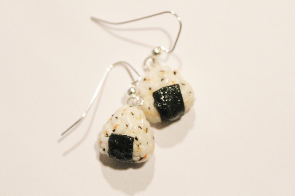 Polymer Clay Onigiri Earrings by CharmStop