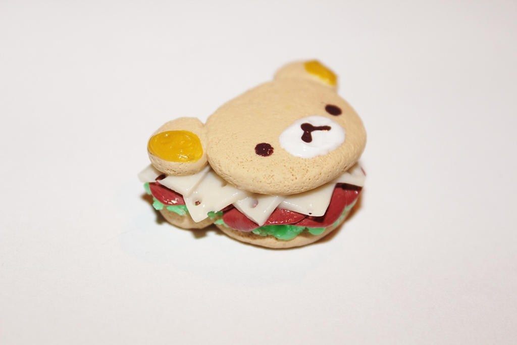 Polymer Clay Rilakkuma Sandwich Pendant by CharmStop