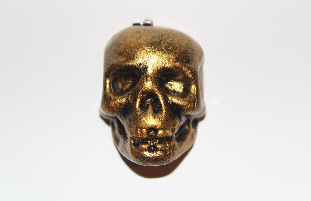 Polymer Clay Antique Gold Skull Pendant by CharmStop