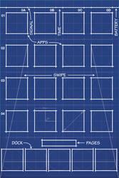 iPhone 4S Blueprint Wallpaper 5 Icon Dock by MrDUDE42