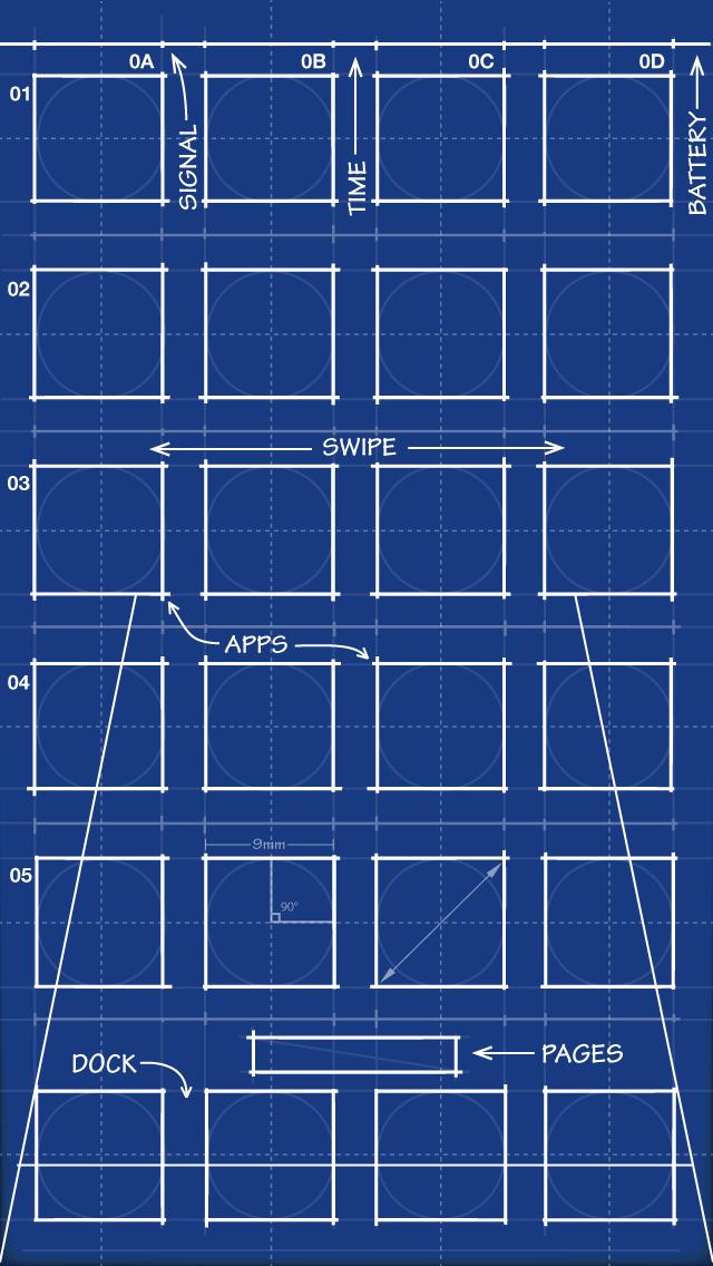 iPhone 5 Blueprint Wallpaper 640x1136