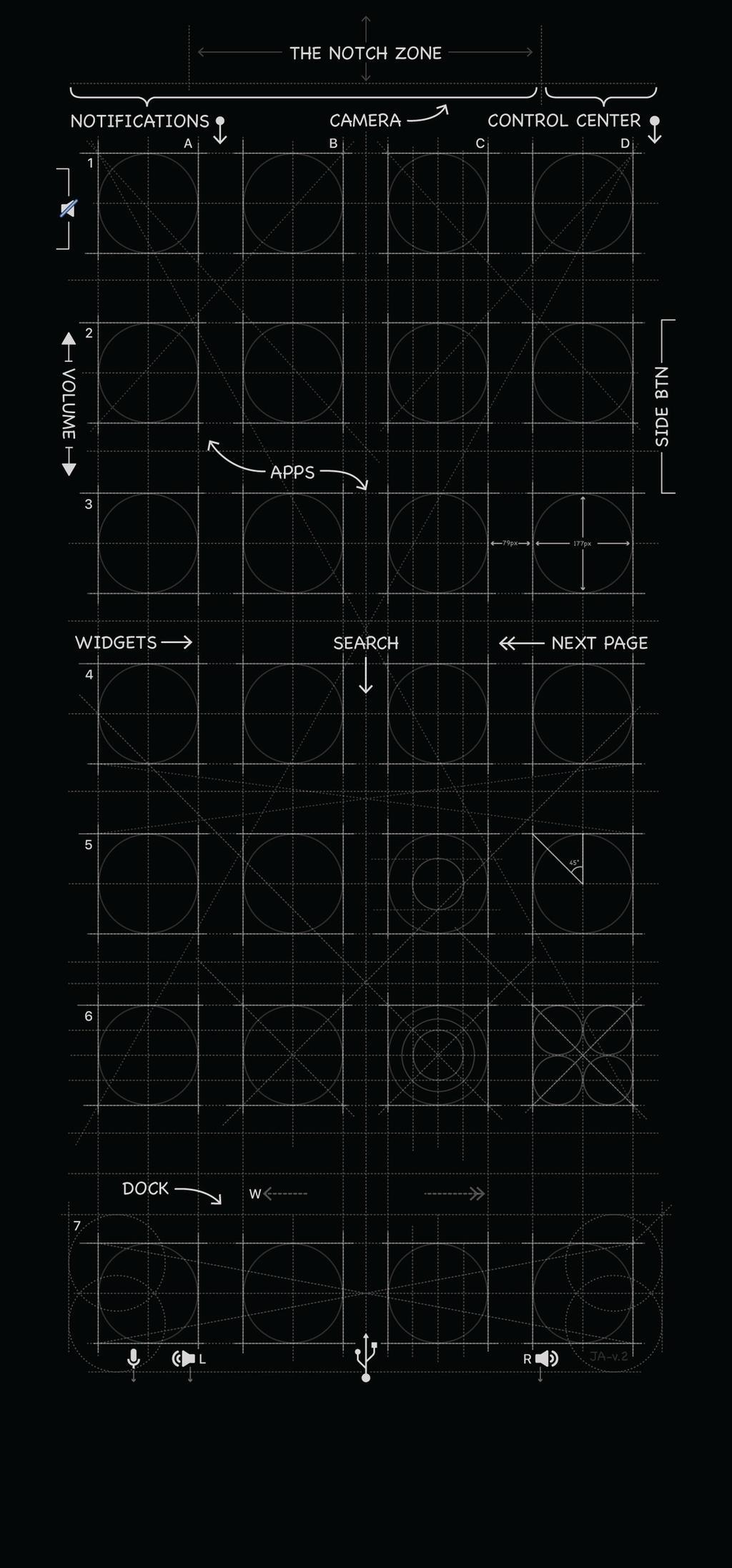 iPhone X Blueprint Wallpaper in Black