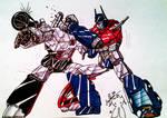 Megatron VS Optimus colored