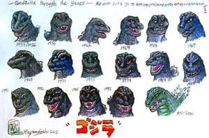 Godzilla through the years tribute render by IggySeymour