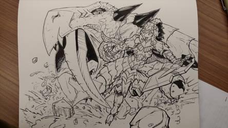 Inktober Monster Hunter: Flash Hunter Torche by Komikino