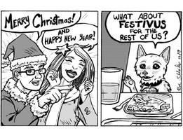 Christmas Card Commission- White Cat Meme parody