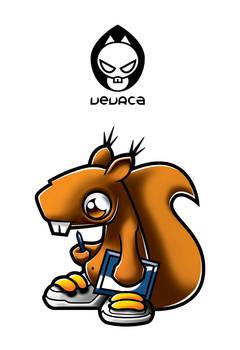 Vevrca squirrel mascote logo
