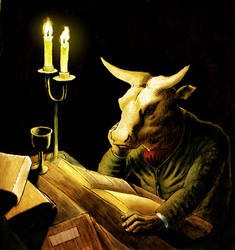 A Minotaur Reading by 3heads