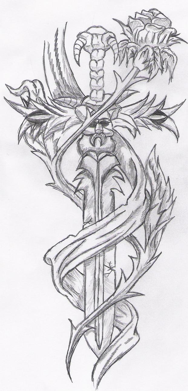tattoo rose sword by reeachan on deviantart. Black Bedroom Furniture Sets. Home Design Ideas