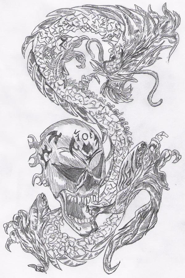 tattoo skull dragon by reeachan on deviantart. Black Bedroom Furniture Sets. Home Design Ideas