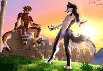 :Commission: Rezumaru and Drachetto by Myly14