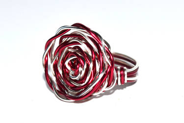 Red Rose - Wire Wrapped Ring by MindarlaDesign