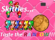 Yoshi Skittles by SnivyIzTehBomb