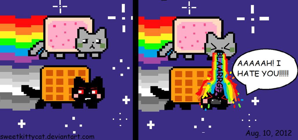 Evil nyan cat minecraft grid