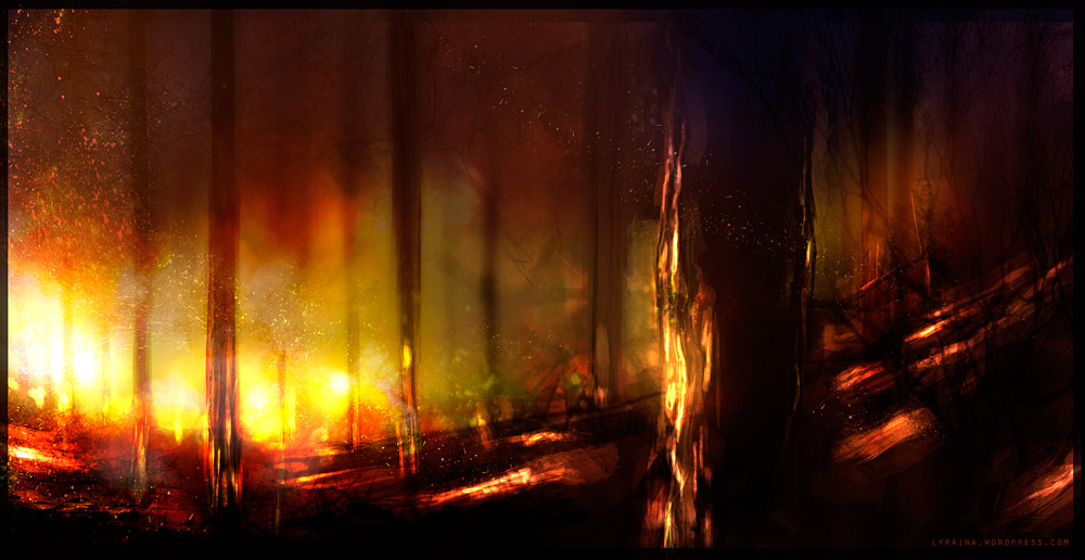 Looking for relevant information. Burning_forest_by_lyraina-d507bd4