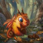 Tiny Autumn Dragon by Lyraina