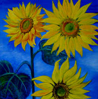 Sunflowers Acrylics by karincharlotte