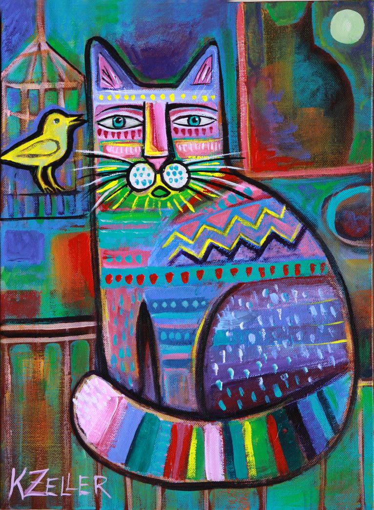 Peintures originales de chats by karin zeller bonheur de for Peindre sur de la peinture