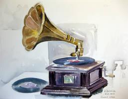 Watercolor gramophone by karincharlotte
