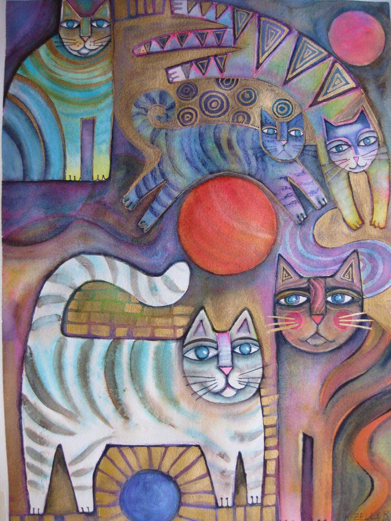 Abstract Klimt inspired Cats by karincharlotte
