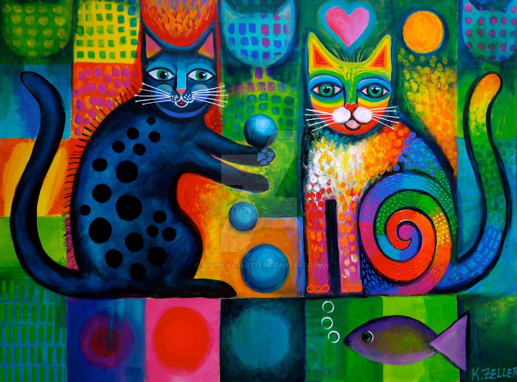 Juggle Puss and Rainbow cat by karincharlotte