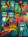 Nine Colourful Cats