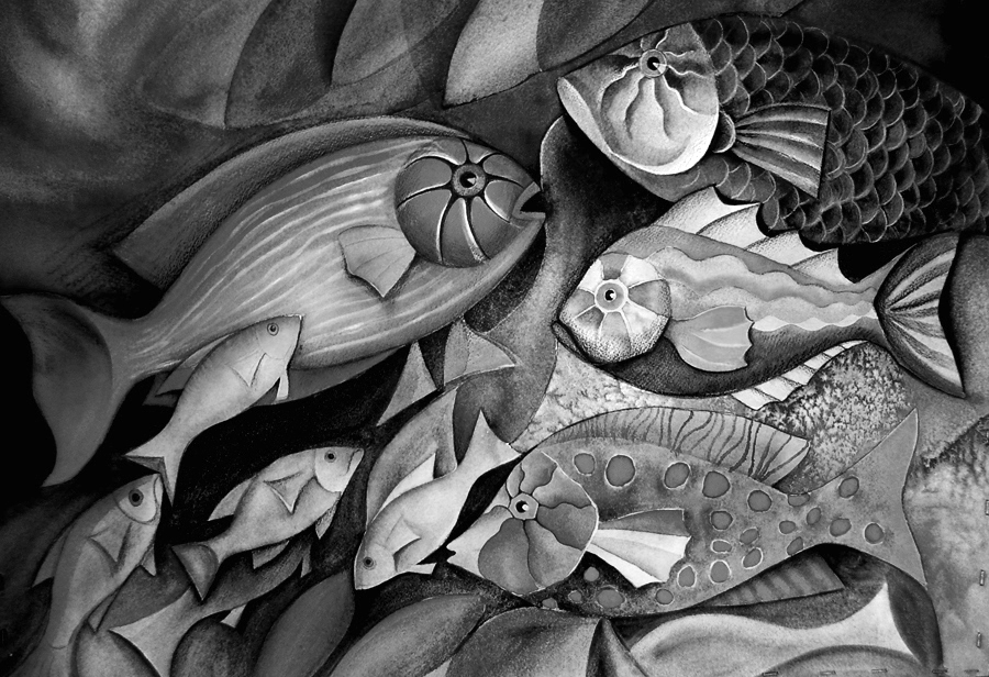 black and white fishes