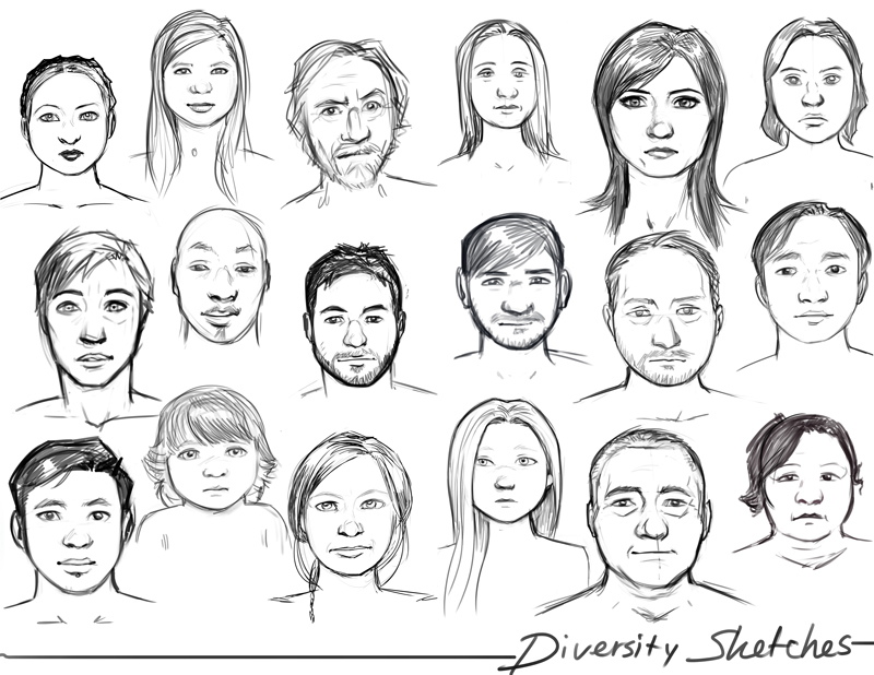 Diversity Sketches by Holly-the-Laing