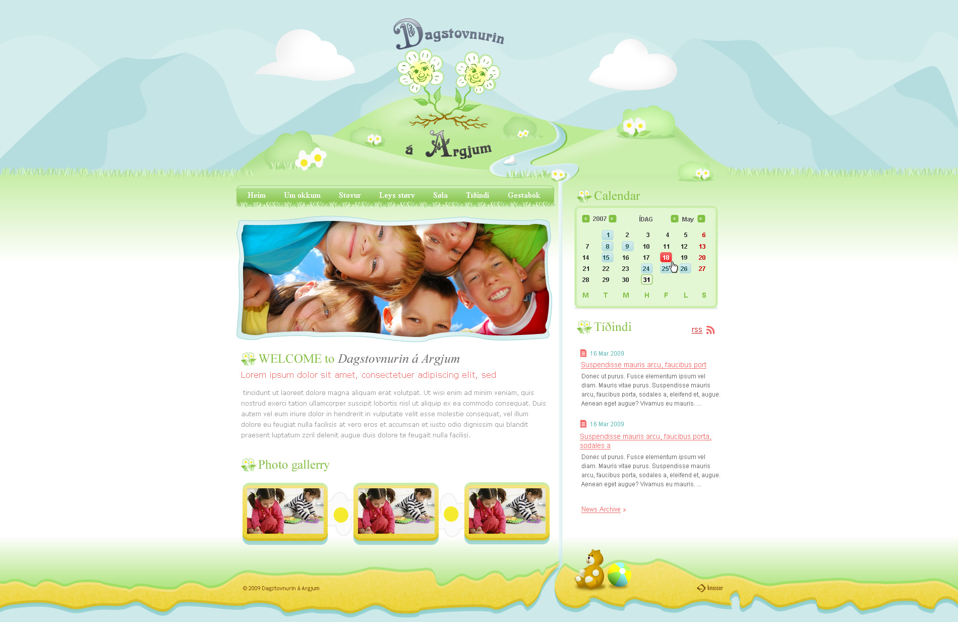 Kindergarten web site by outlines
