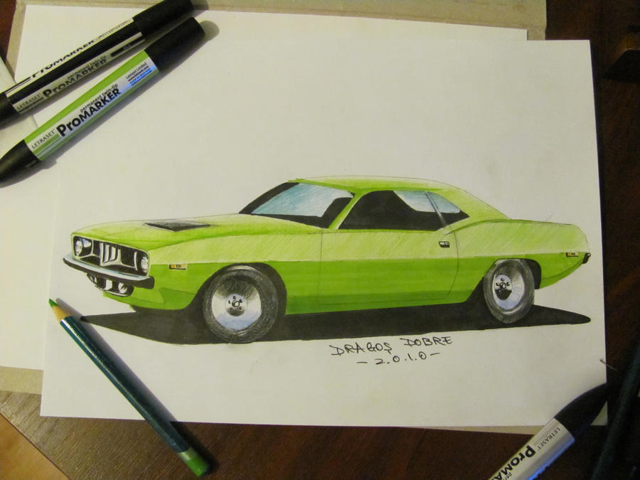 plymouth cuda drawing by jimmynerd