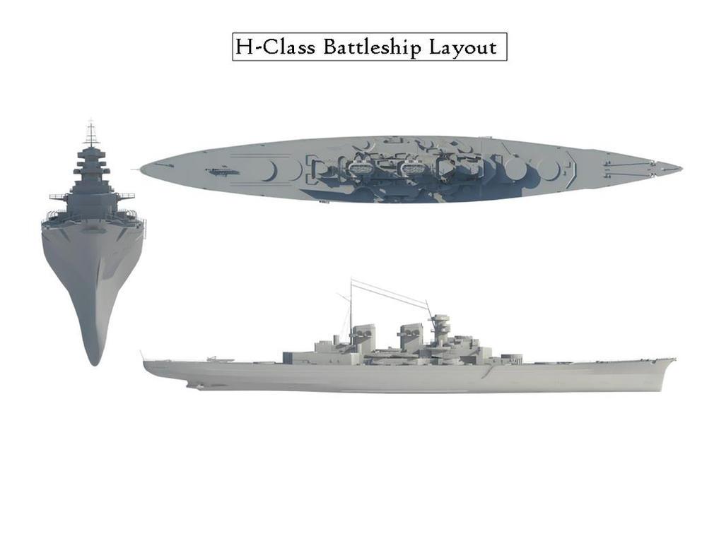 H-Class Battleship Render Test by quacky112