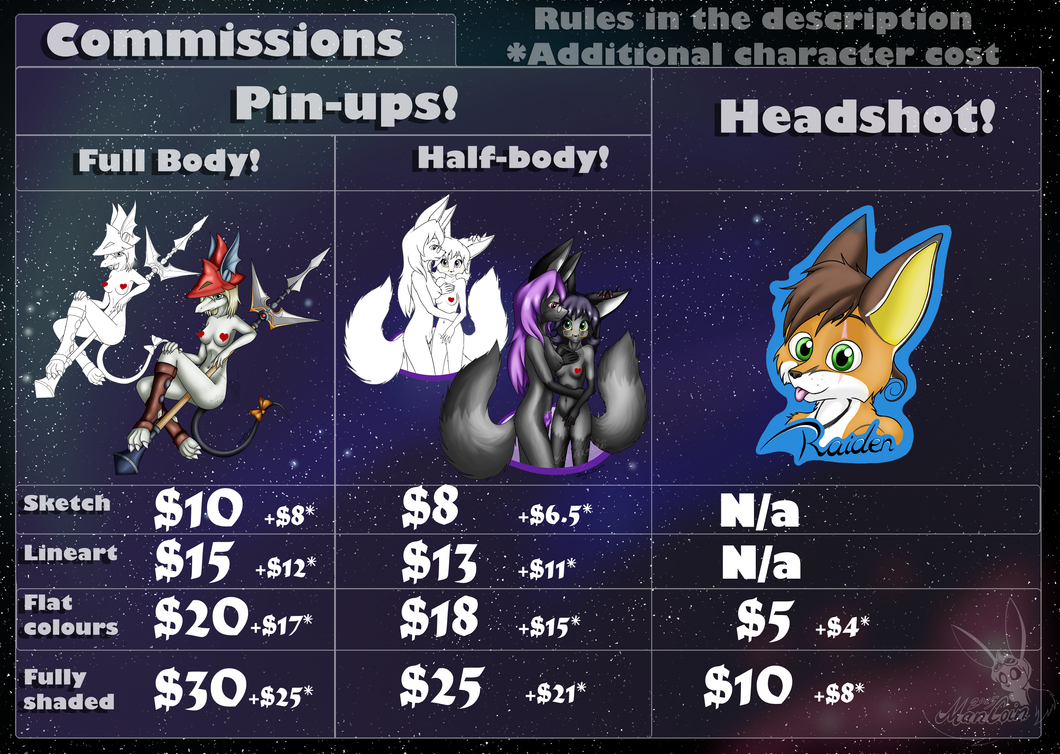Commission Price Sheet by Mancoin