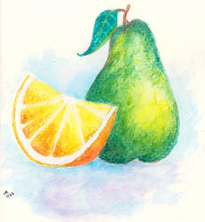 Pear and Orange -- Watercolor Card 007 by KaleyObsidia