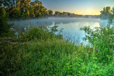 Misty Morning Lake by KaleyObsidia
